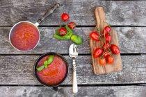 Casserole et bol de soupe de tomate maison sur bois — Photo de stock