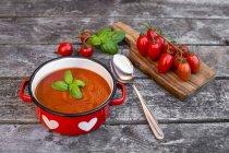 Kochtopf hausgemachte Tomatencremesuppe mit Tomaten auf Holz — Stockfoto