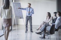 Businessman leading a presentation with flip chart — Stock Photo