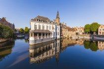 Belgium, Flanders, Bruges, Rozenhoedkaai and town canal — Stock Photo