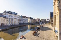 Belgium, Ghent, old town, Korenlei and Graslei, historical houses at River Leie — Stock Photo