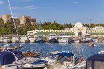 Greece, Rhodes, boats at Mandraki harbour — Stock Photo