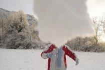 Человек, бросать снежки в парке — стоковое фото