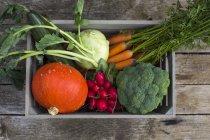 Дерев'яний ящик різні овочі свіжі взяв на темного дерева — стокове фото