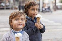 Portrait d'heureux petit cornet de crème glacée et son frère en arrière-plan — Photo de stock