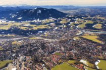 Germany, Bavaria, aerial view of Isarwinkel, river Isar, Bad Toelz, Zugspitze and the Alps — Stock Photo