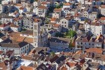 Хорватія, острів Хвар, Хвар повітряних міський пейзаж з видом на собор — стокове фото
