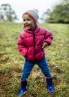 Portrait of laughing little girl standing on a meadow in autumn — Stock Photo