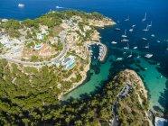 Spagna, Maiorca, Palma di Maiorca, Vista aerea, El Toro, Ville e yacht vicino a Portals Vells — Foto stock