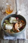 Hearty oat flakes bowl with fruits, goat cheese and thyme — Stock Photo
