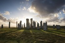 UK, Scotland, Isle of Lewis, Callanish, view to formation of standing stones at backlight — Stock Photo