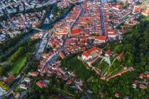 Germany, Bavaria,Top view of Landshut town with Trausnitz Castle — Stock Photo