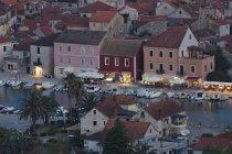 Croatia, Hvar Island, Harbour of Stari Grad in evening — Stock Photo