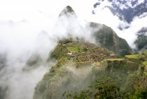 Pérou, région de Machu Picchu, la Citadelle de Machu Picchu et Huayna montagne dans le brouillard — Photo de stock