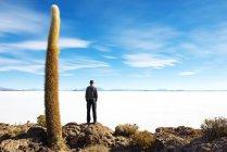 Bolivia, Potosi, uomo che esamina le saline di Uyuni — Foto stock