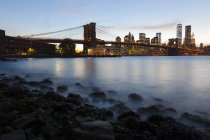USA, New York, New York City, Manhattan, Brooklyn Bridge at sunset — Stock Photo