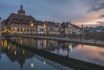 Rathaussteg bridge to old town in evening — Stock Photo