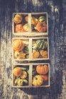 Vista superiore di tre cestini di zucche decorative su superficie di legno — Foto stock