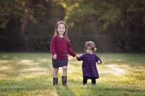 Due bambine camminare mano nella mano su un prato — Foto stock