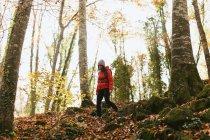 Espanha, Catalunha, Girona, caminhante feminina caminhando na floresta — Fotografia de Stock