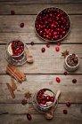 Brille von Cranberry-Saft mit frische Cranberries, Zitronenscheiben und Gewürzen auf Holz — Stockfoto