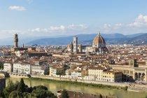 Italien, Toskana, Florenz, Stadtbild, Palazzo Vecchio, Campanile di Giotto und Kathedrale von Florenz — Stockfoto
