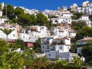 España, Andalucía, Costa del Sol, Nerja, vista de casas contra árboles - foto de stock