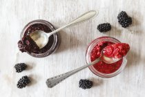 Raspberry and blackberry jams with chia seeds — Stock Photo