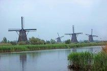 Нидерланды, Киндердейк, вид традиционной мельницы против воды — стоковое фото