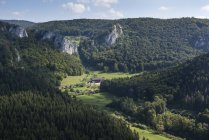 Vue aérienne de Bade-Wurtemberg, en Allemagne, de la haute vallée du Danube — Photo de stock