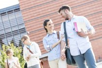 Smiling young couples with books walking and talking outdoors — Stock Photo