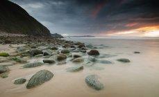 Espagne, Galice, plage Campelo au coucher de soleil — Photo de stock