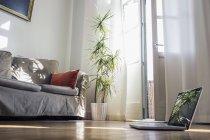 In piedi portatile sul pavimento di legno della sala soggiorno — Foto stock