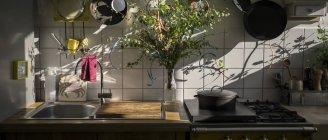Кухонный комбайн в отечественной кухни на утренний свет — стоковое фото