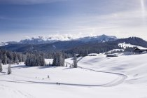 Germany, Reit im Winkl, snow-covered Winklmoosalm with Loferer Steinberge and Steinplatte in the background — Stock Photo