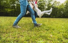 Father and mother lifting up daughter on meadow — Stock Photo