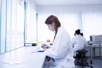 Laboratory assistants working in clinical laboratory — Stock Photo