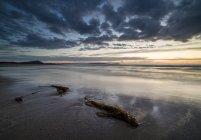 Espagne, Galice, Valdovino, plage de Frouxeira au coucher du soleil — Photo de stock