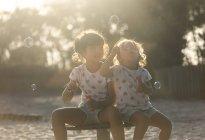 Дві маленькі сестри, роблячи мильні бульбашки в парку в сутінки — стокове фото