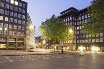 Germany, Hamburg, Kontorhaus district illuminated in the evening — Stock Photo
