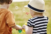 Rear view of little children blowing soap bubbles — Stock Photo