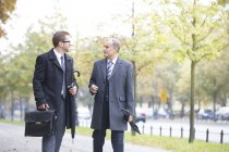 Businessmen walking and talking in park — Stock Photo