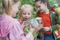 Крупным планом Девушки смотрят гусениц в стекле — стоковое фото