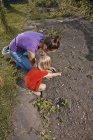 Мать и дочь сажают саженцы в саду — стоковое фото