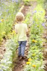 Back view of little girl walking through flower beds — Stock Photo