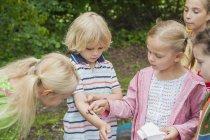 Bambini che guardano il trattore a cingoli della farfalla di peackock sul braccio del ragazzo — Foto stock