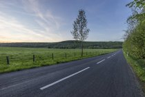 Germany, Wolfenbuettel, Reitlingstal, empty road in the evening — Stock Photo
