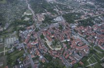 Aerial view of Quedlinburg with collegiate church in the evening, Germany — Stock Photo