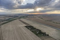 Germany, aerial view of fields near Quedlinburg in the evening — Stock Photo