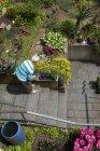 Mujer Senior que trabaja en el jardín - foto de stock